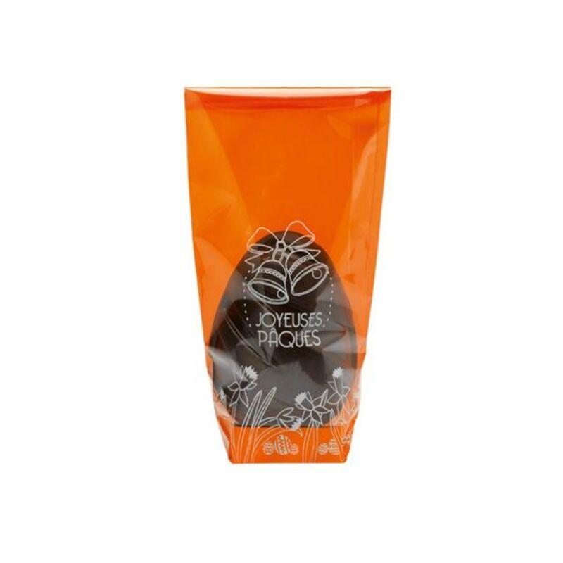 Sachet fond carton Joyeuses Pâques orange (x100)