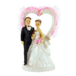 Couple de mariés coeur rose Patisdecor A