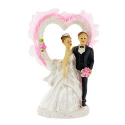 Couple de mariés coeur rose Patisdecor B