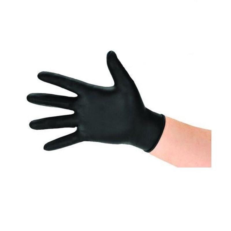Gants jetables en nitrile noir taille M (x100)