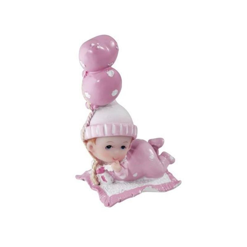 Sujet de baptême bébé fille assise ballon 3 cm