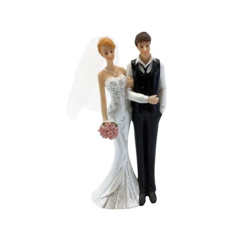 Couple mariés bouquet à la main 15 cm