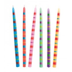 Bougies multicolores rayures (x 12)