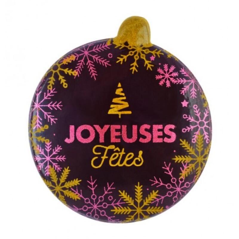 Plaquettes boule bombée chocolat Joyeuses fêtes (x60)