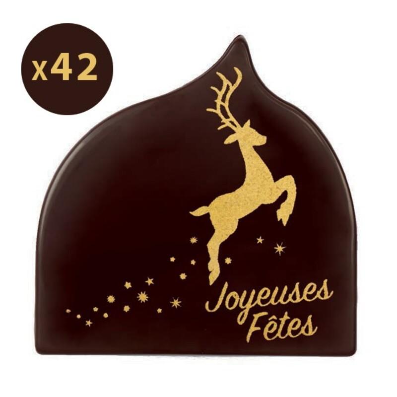 Décorations chocolat Joyeuses fêtes Cerf (x42)