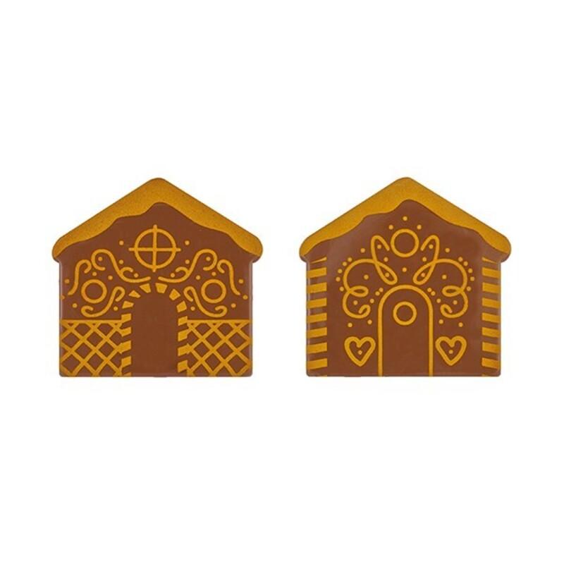 Embout de bûche chocolat au lait chalet 2 motifs (x42)
