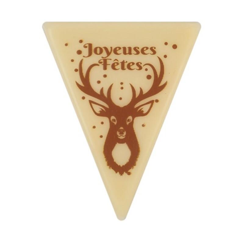 Décoration bûche de Noel motif Cerf en chocolat blanc (x108)