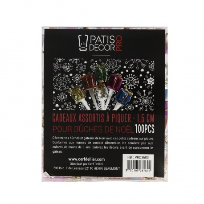 Paquets cadeau assortis 1,5 cm Patisdécor Pro (x100)