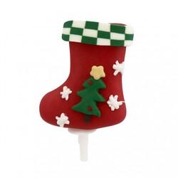 Chaussette de Noël décorée sur pique Patisdécor