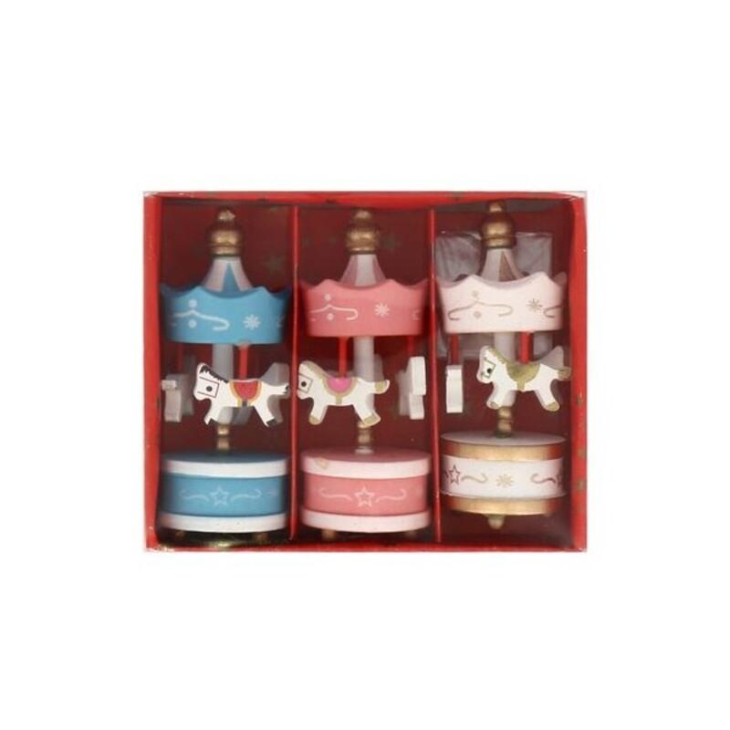 Lot de 3 toppers carrousel rose blanc bleu Patisdécor