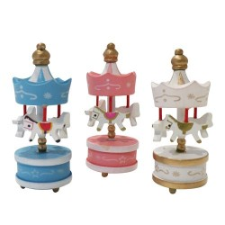 Lot de 3 toppers carrousel rose blanc bleu Patisdécor