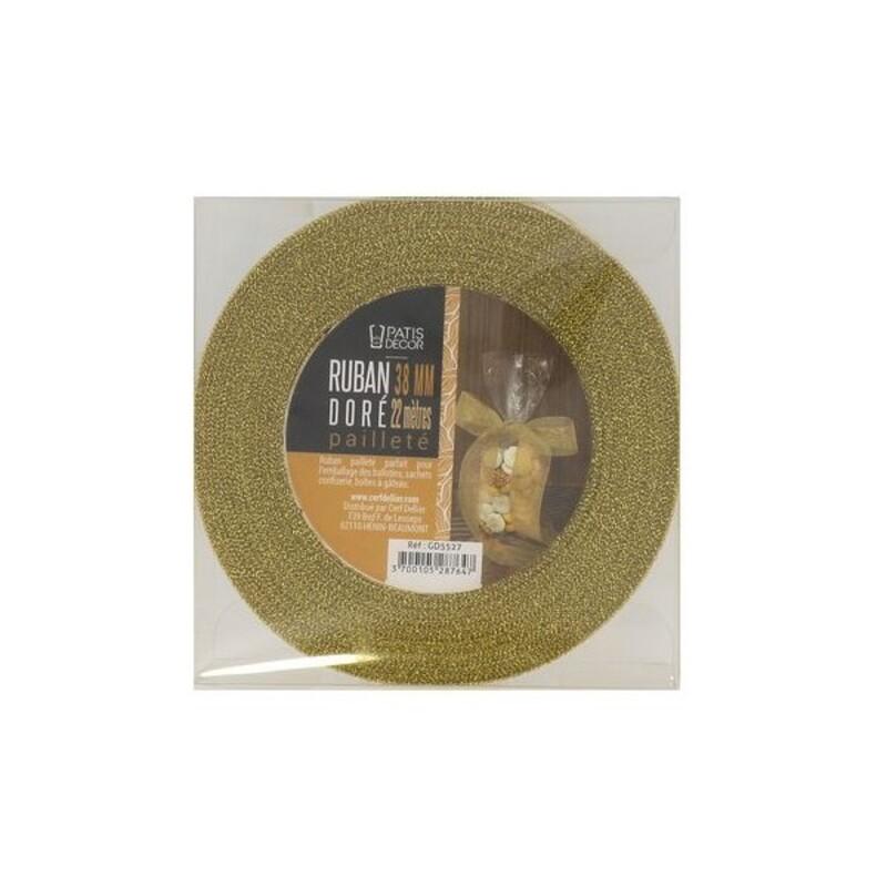 Ruban doré pailleté 3.8 cm (22 m) Patisdécor