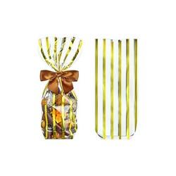 Sachets fond carton bandelettes dorées (x100)