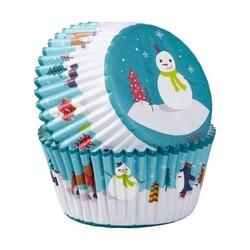 Caissette cupcake Bonhomme de neige (x75)
