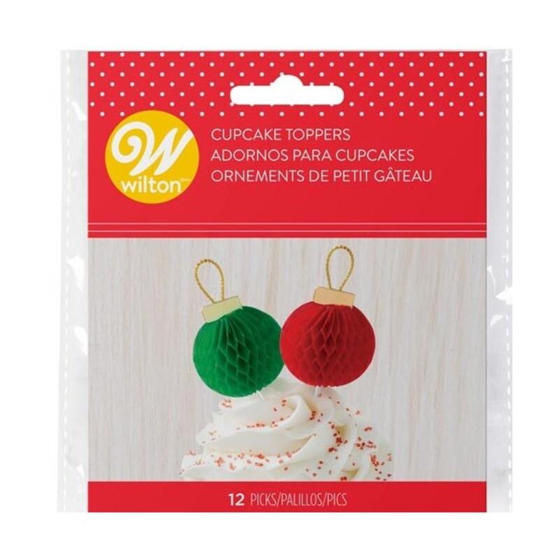 Cake Topper boule de Noël Wilton x 12