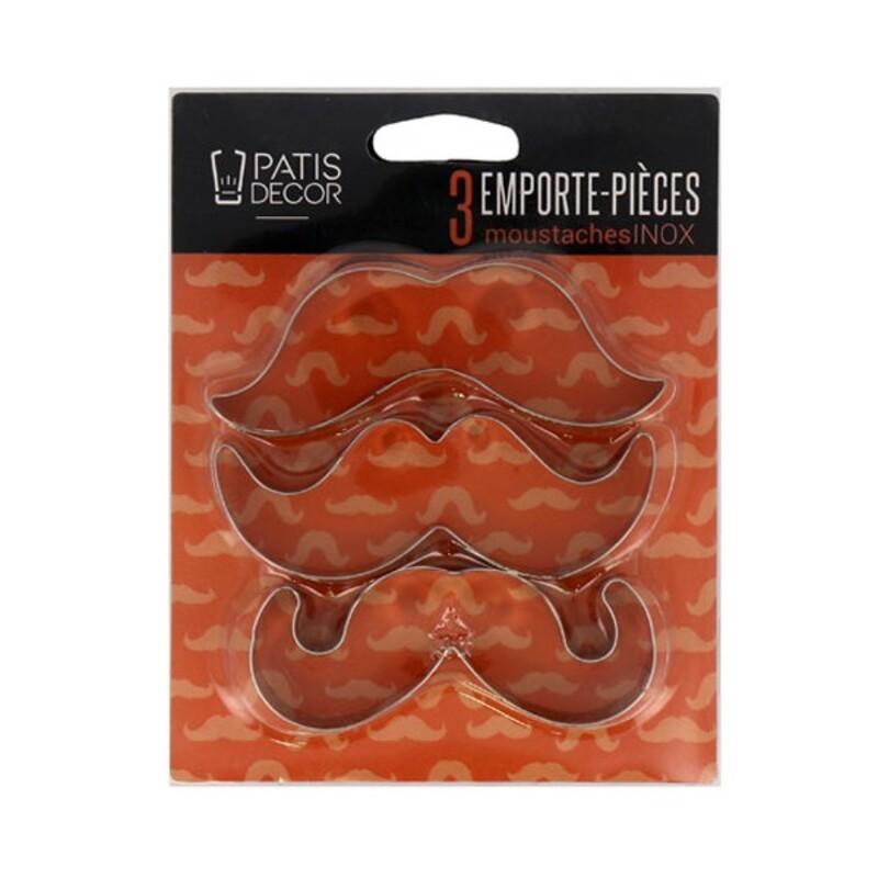 Lot de 3 emporte-pièces moustaches Inox