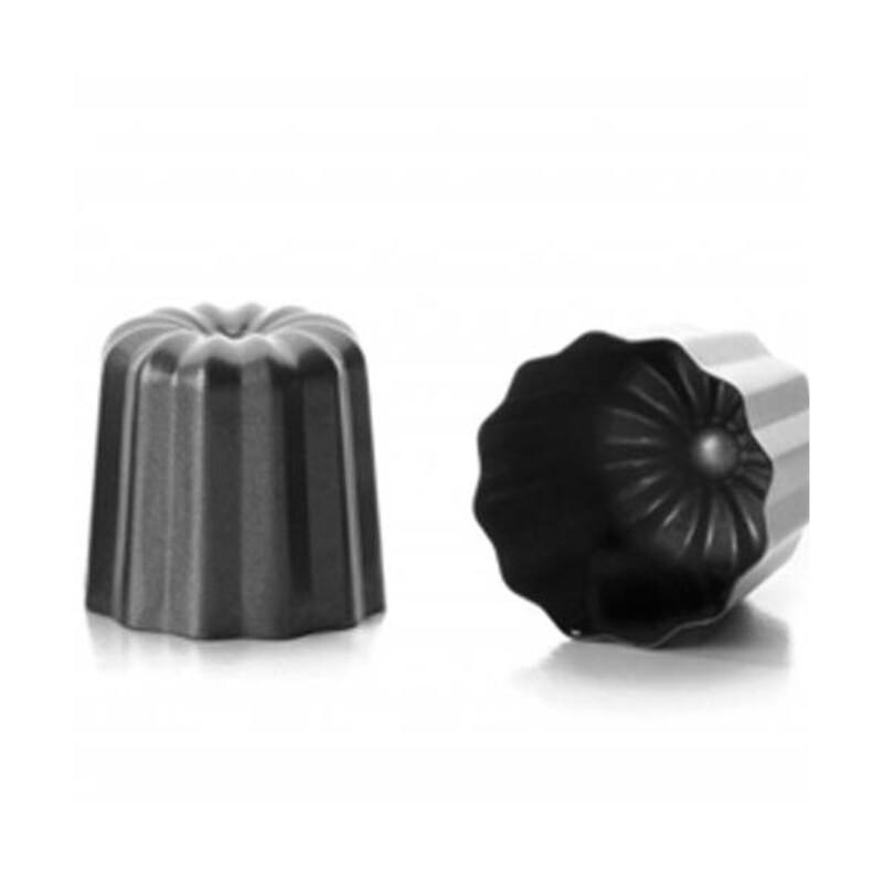 Moules Canele (4x) Acier, Noir, 6 x 6 x 5 cm