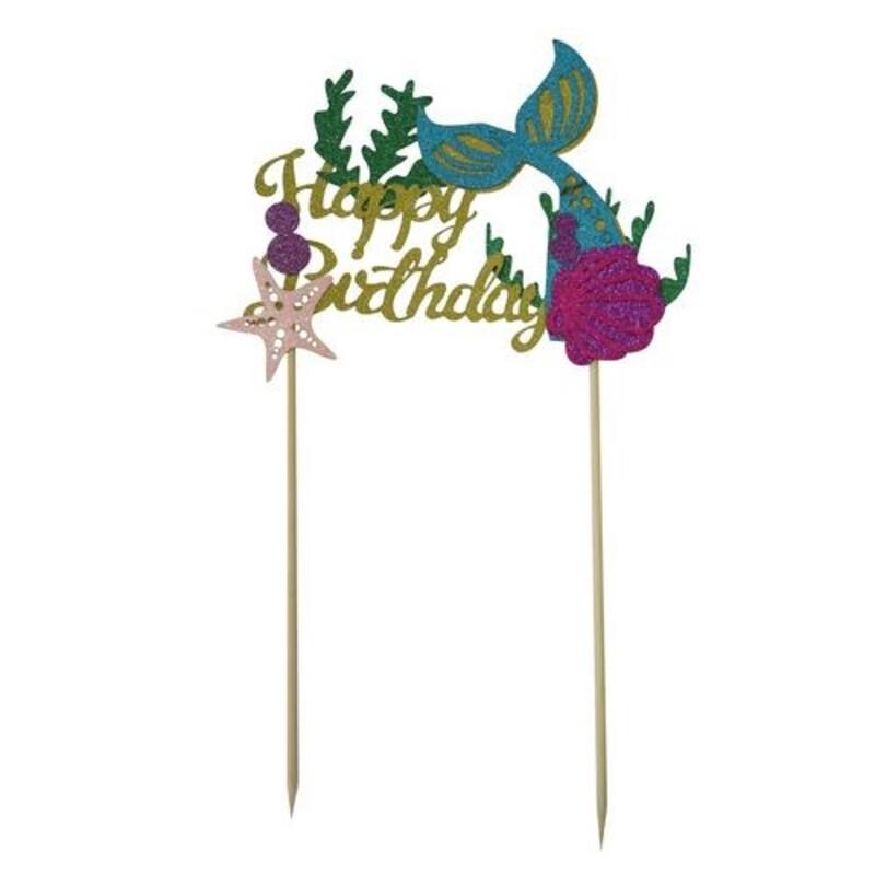 Cake topper Happy birthday sirène Patisdécor