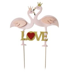 Cake topper flamants roses Love Patisdécor
