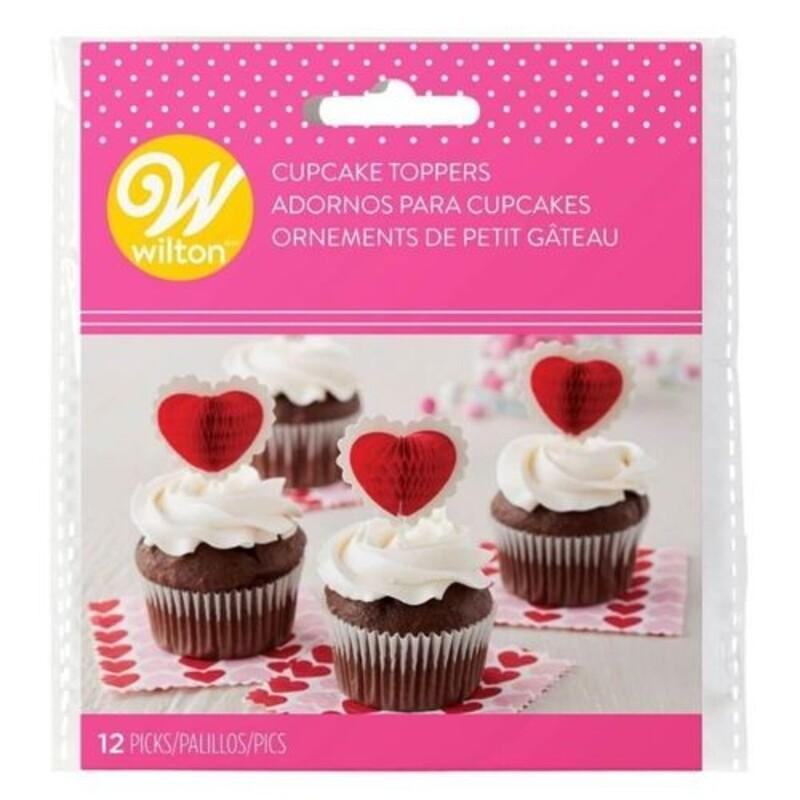 Cake topper coeur rouge et blanc (x12)