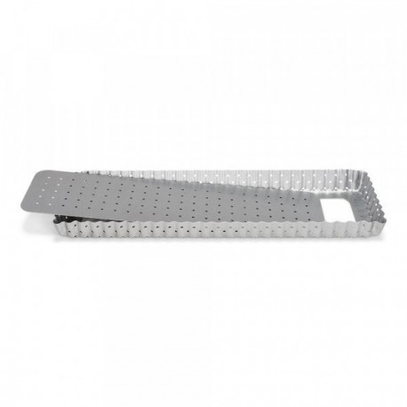 Moule à tarte rectangle antiadhésif perforé avec fond amovible 35x11 cm