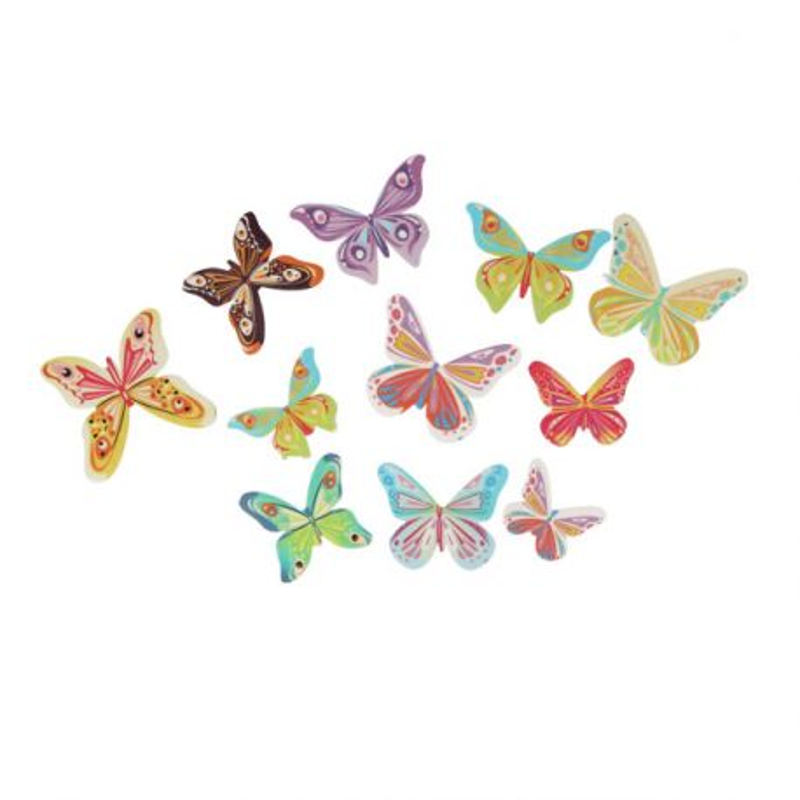 17 Papillons 3D comestibles en azyme assortis Patisdécor