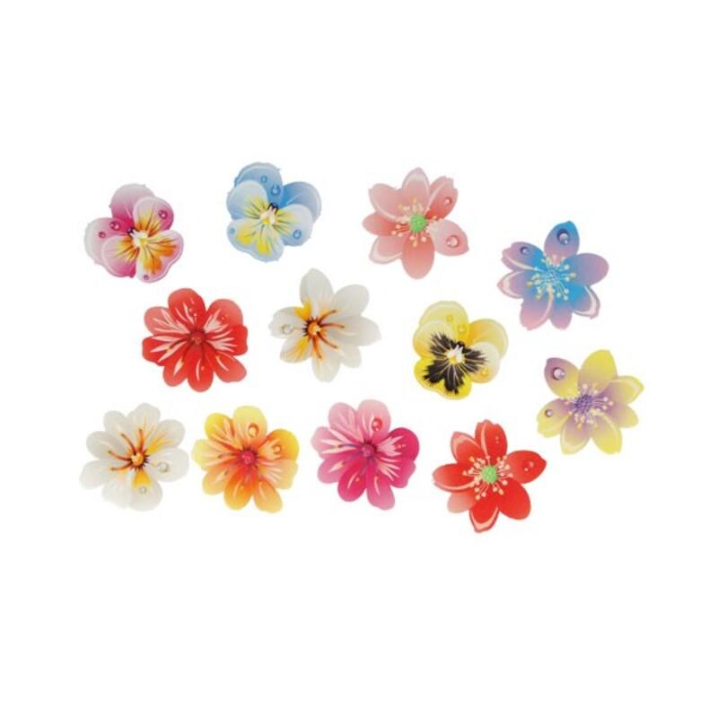 13 Fleurs 3D comestibles en azyme assorties Patisdécor