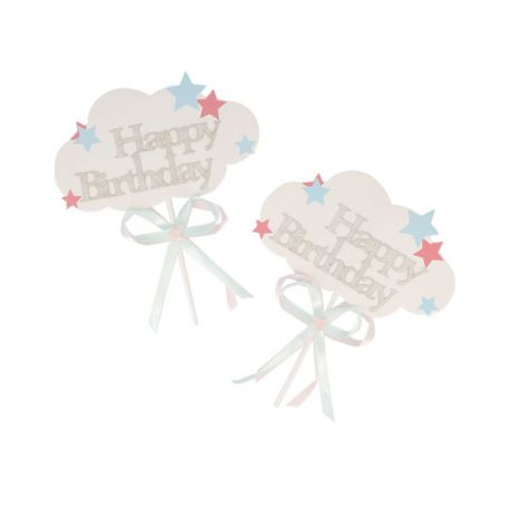 Cake Toppers nuages Happy Birthday Patisdécor (x2)