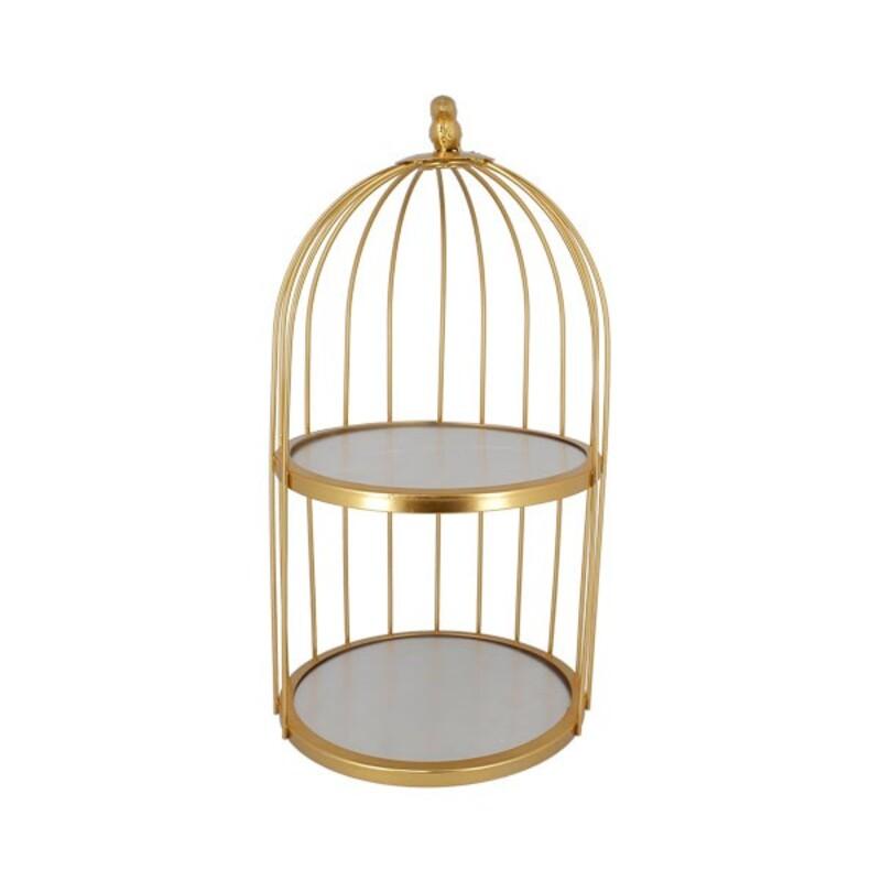 Présentoir cage à oiseaux doré 2 étages Patisdécor 20 cm