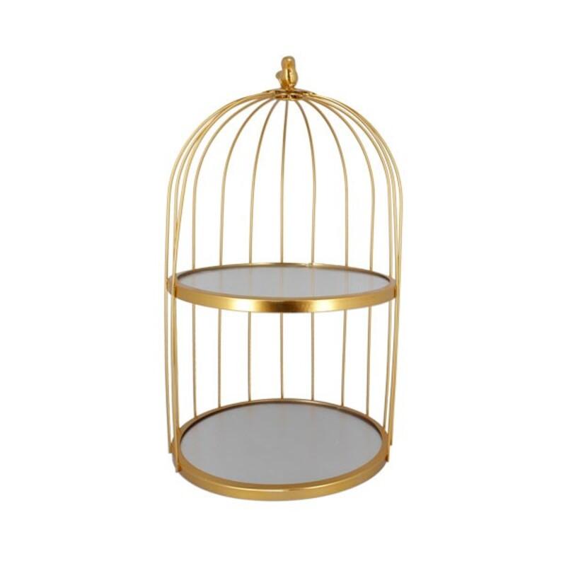 Présentoir cage à oiseaux doré 2 étages Patisdécor 25 cm