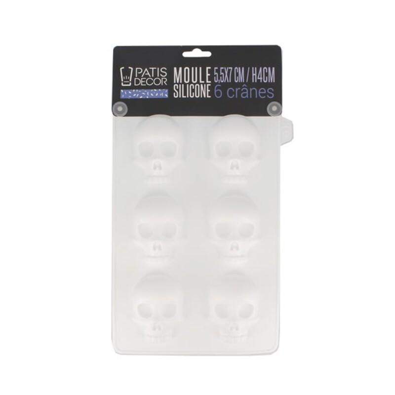 Moule silicone 6 crânes 3D Patisdécor