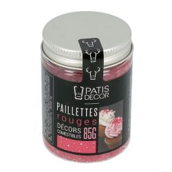 Paillettes alimentaires rouges Patisdécor