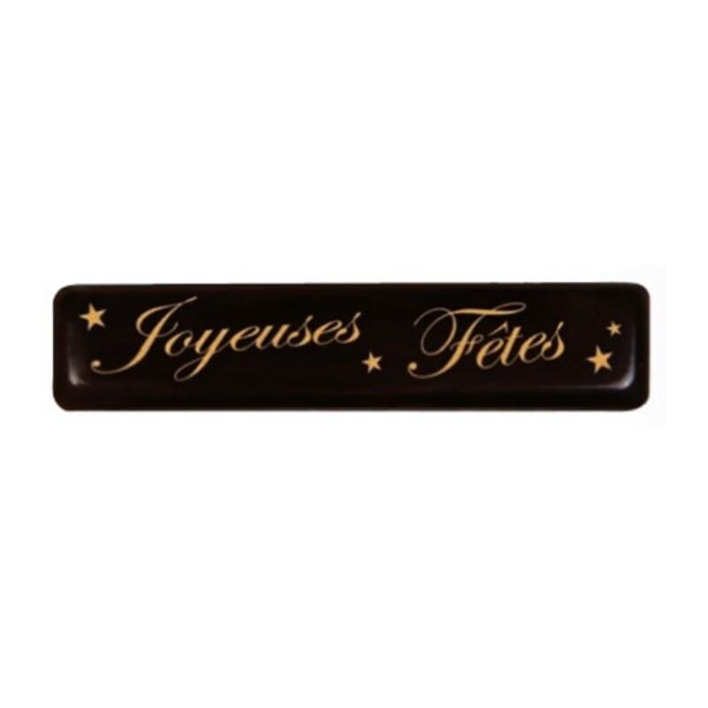 Rectangles chocolat noir Joyeuses Fêtes (x132)