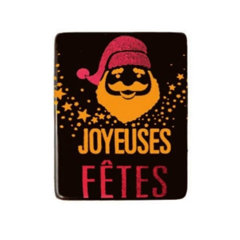 Rectangles chocolat noir Joyeuses Fêtes Père Noël (x72)