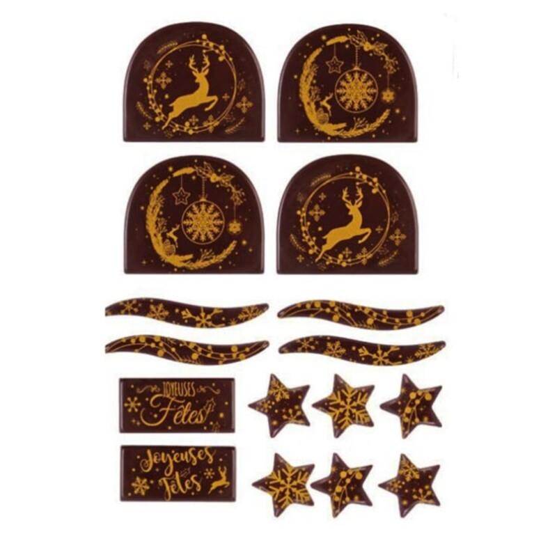 Kit décors de bûches en chocolat pour 14 bûches