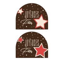 Embouts de bûches en chocolat noir assortis Joyeuses Fêtes (x54)