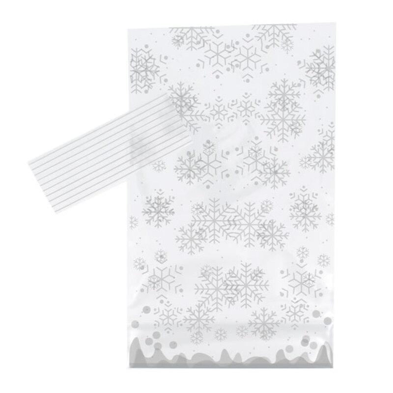 Sachets bonbons Cristal Argent + liens 14 x 23 cm (x10)