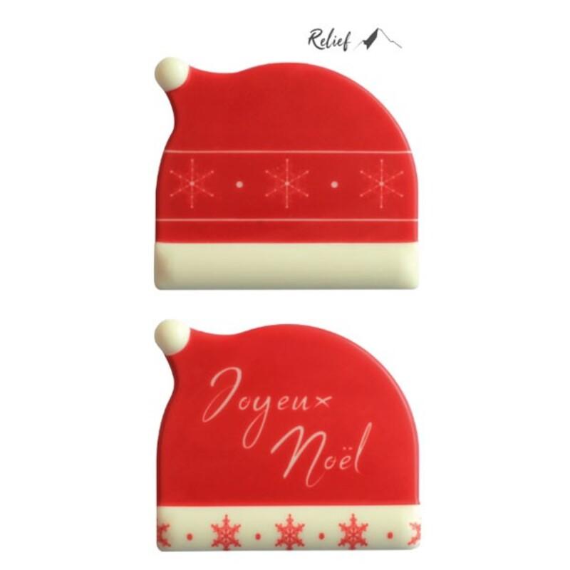 Embouts de bûches en chocolat blanc bonnet Joyeux Noël (x56)