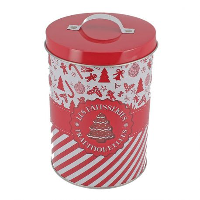 Boîte à biscuits de Noël ronde en métal