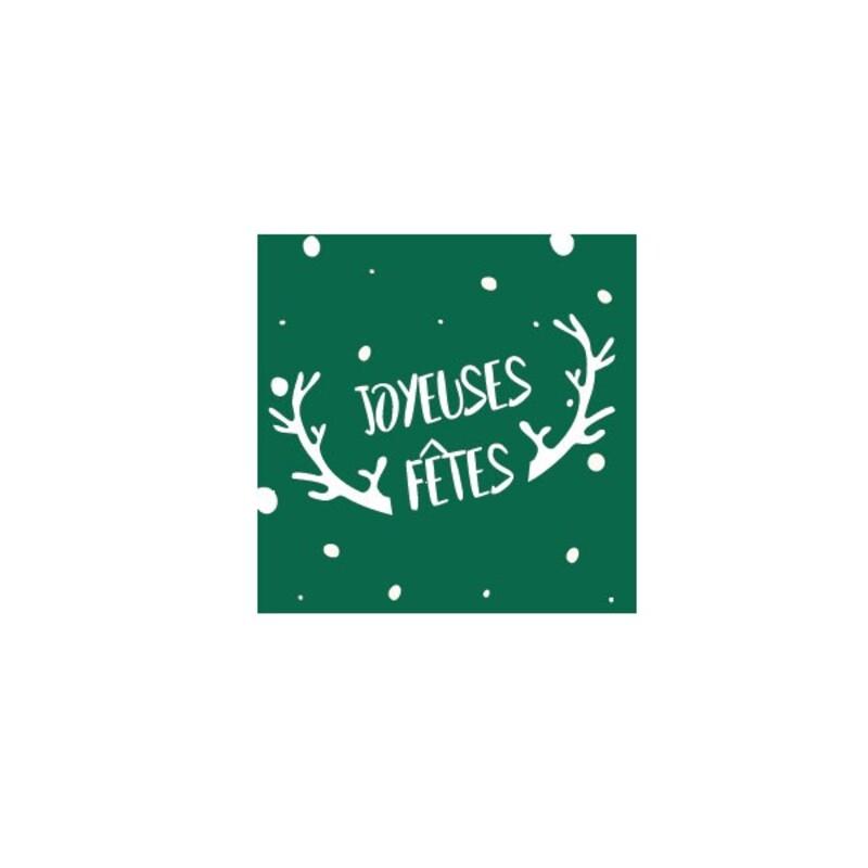 Etiquettes adhésives vertes Joyeuses Fêtes cerf (x500)