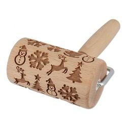 Mini rouleau empreintes en bois thème Noël