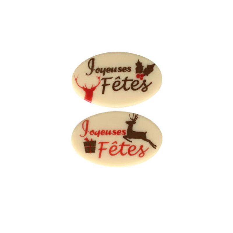 Ovales Joyeuses Fêtes rouge assortis chocolat blanc (x60)