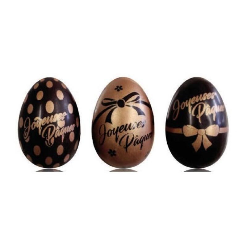 Assortiment de 3 oeufs noeud cuivre chocolat noir 528g
