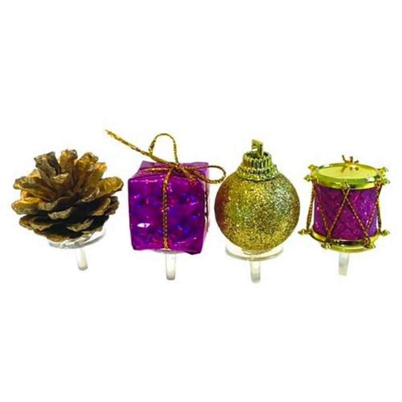 Décors assortis bûche de Noël violet et or Patisdécor
