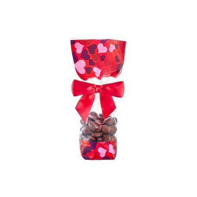 Sachet confiserie coeur Saint Valentin fond cartonné (x100)