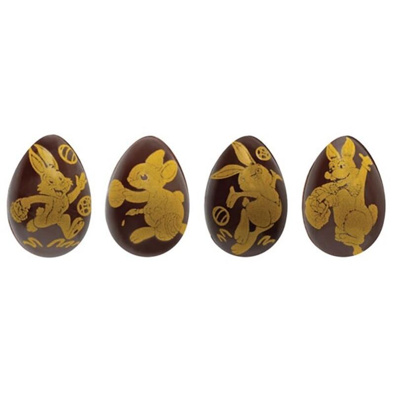 Oeufs 3D avec lapins et oiseaux de Pâques 26x37mm