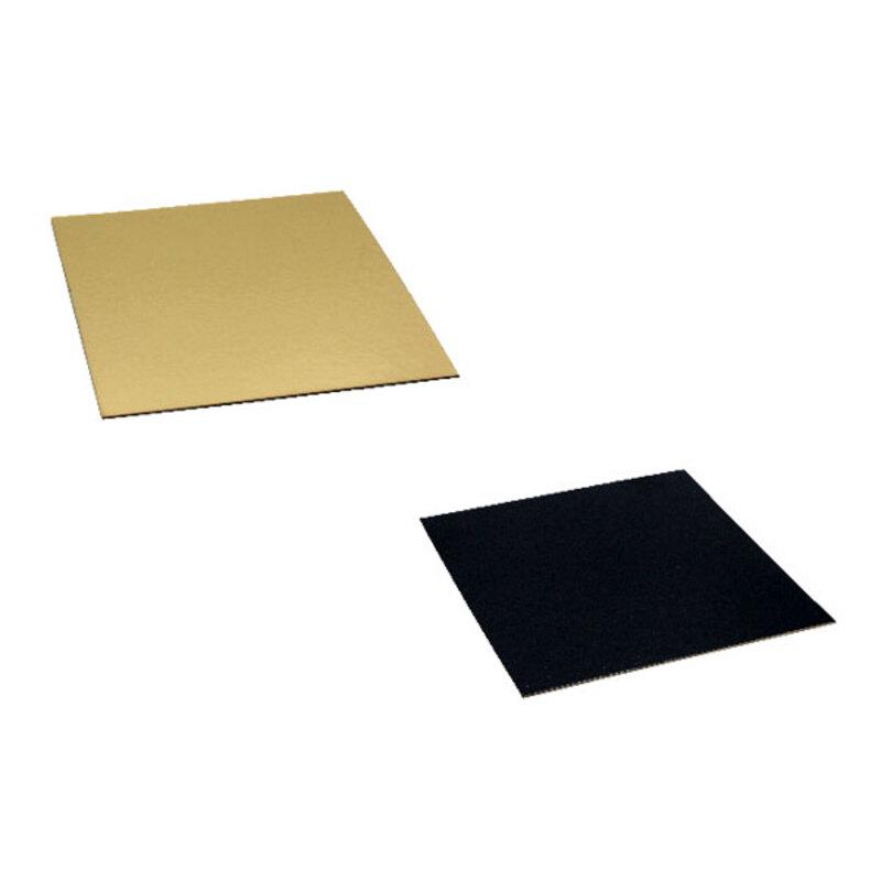 Cartons carrés or/noir (x100)