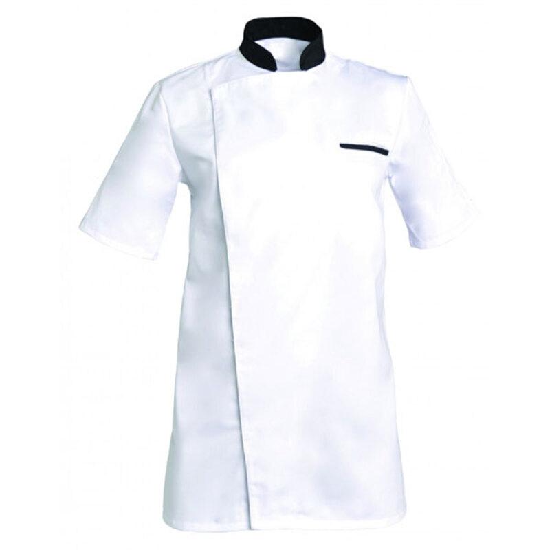 Veste blanche col noir manches courtes Alex