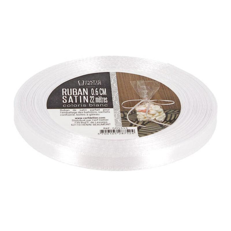 Ruban blanc satin 0.6 cm (22 m) Patisécor