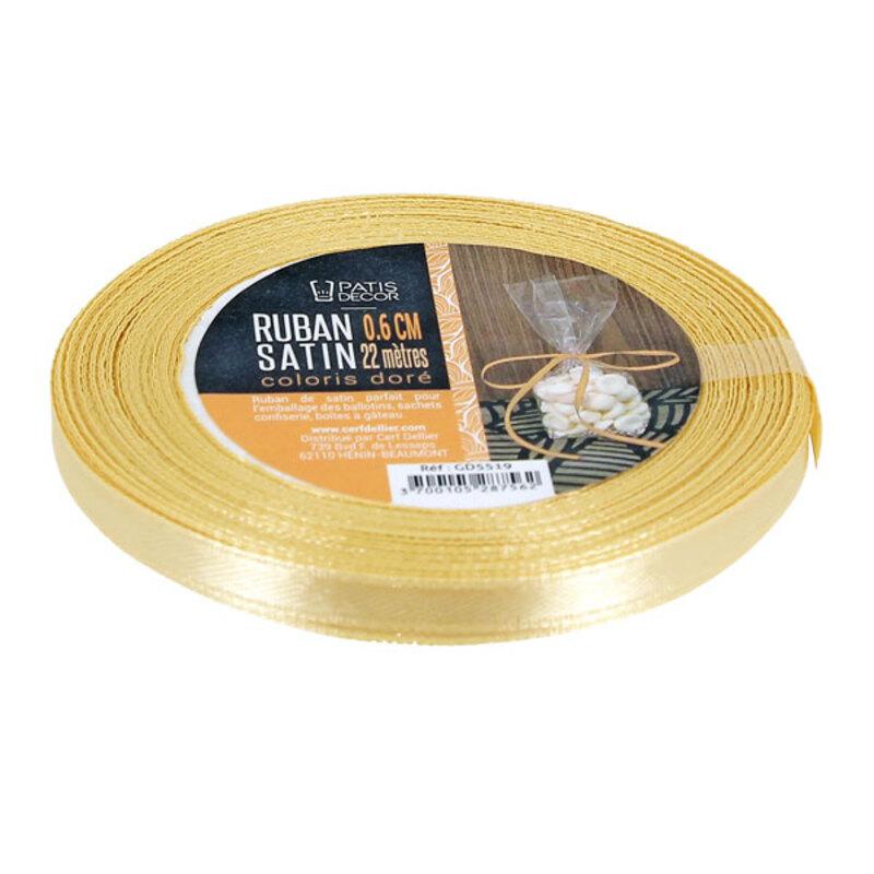Ruban doré satin 0.6 cm (22 m) Patisdécor